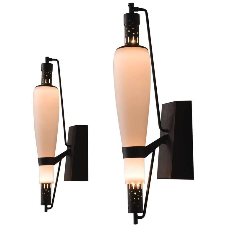 French Art Deco Wall Light in Steel and Opaline Glass 1 | Light ...