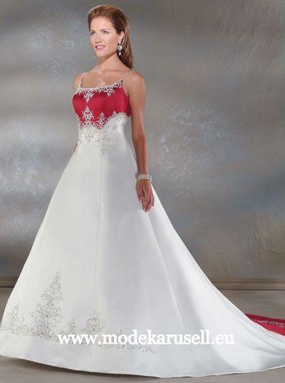 Luxus Brautkleid Hochzeitskleid Farbig Weiss Rot Dunkelrot www ...