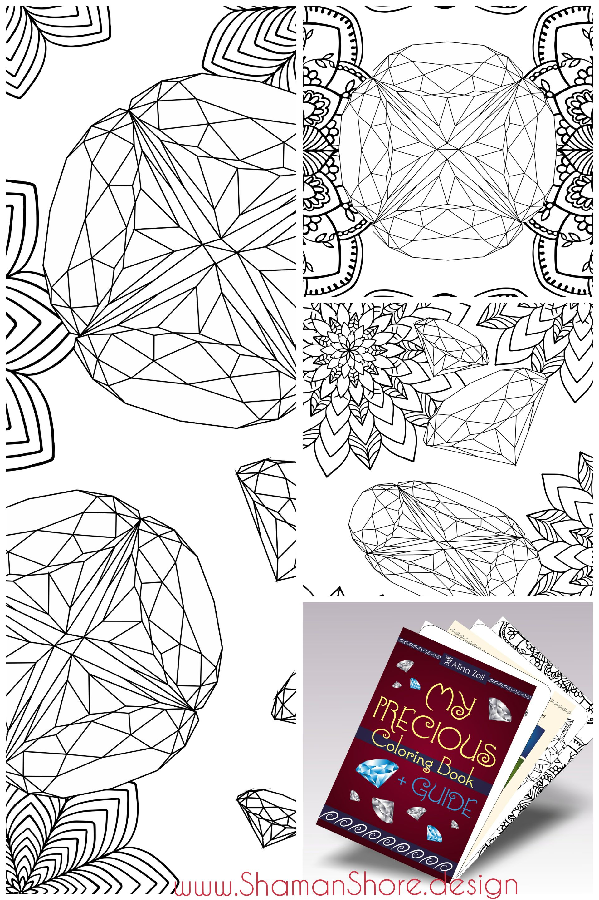 Gemstone adult coloring book coloring pages with guide