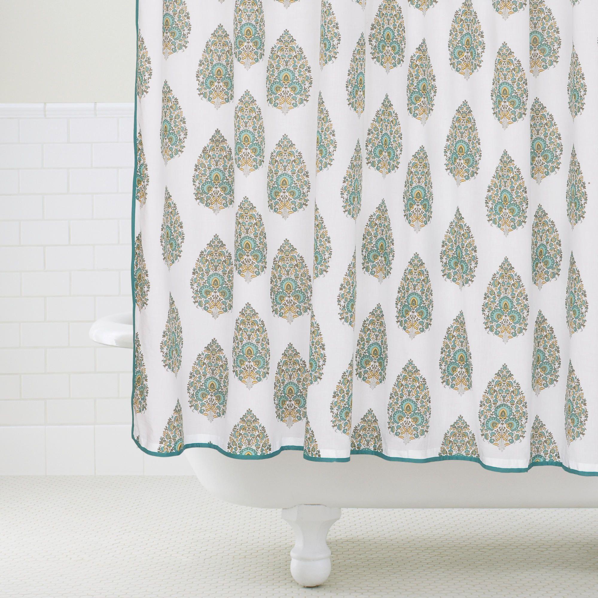 Peacock Bhuti Shower Curtain World Market 29 99 Home Decor
