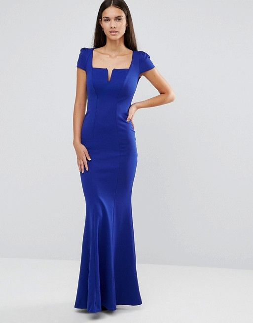 7d2bd5b3a In Sale City Goddess Long Royal Blue Mermaid Evening Gown Dress with Square  Neckline and Short Sleeves - polyester
