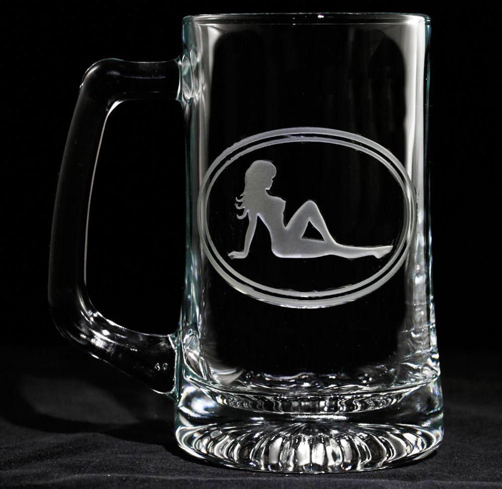 trucker mudflap girl beer mug sexy woman silhouette engraved glass at crystal imagery