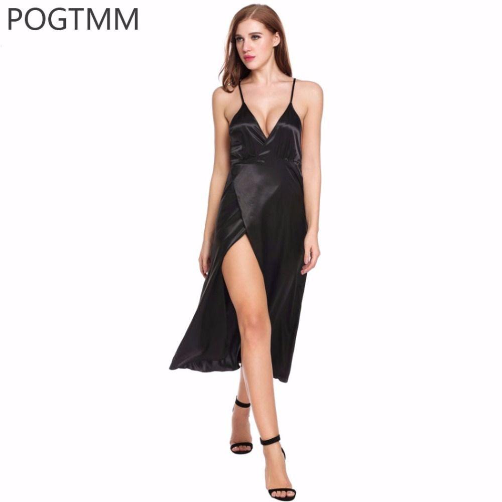Sexy Satin Silk Nightgown Long Sleeveless Summer Dress Women Nighty