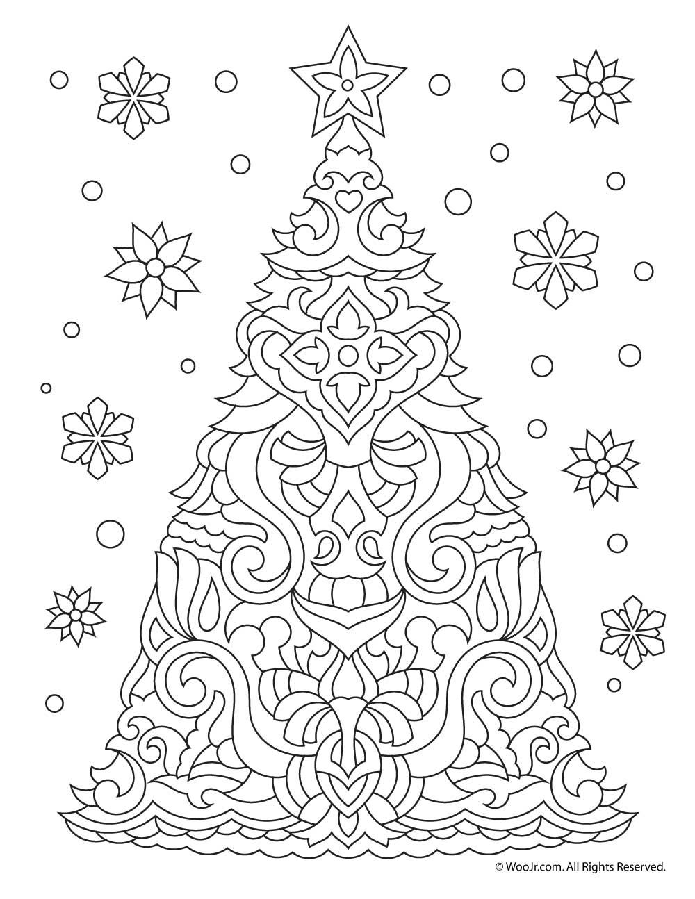 Christmas Tree Adult Coloring Page Printable Christmas Coloring