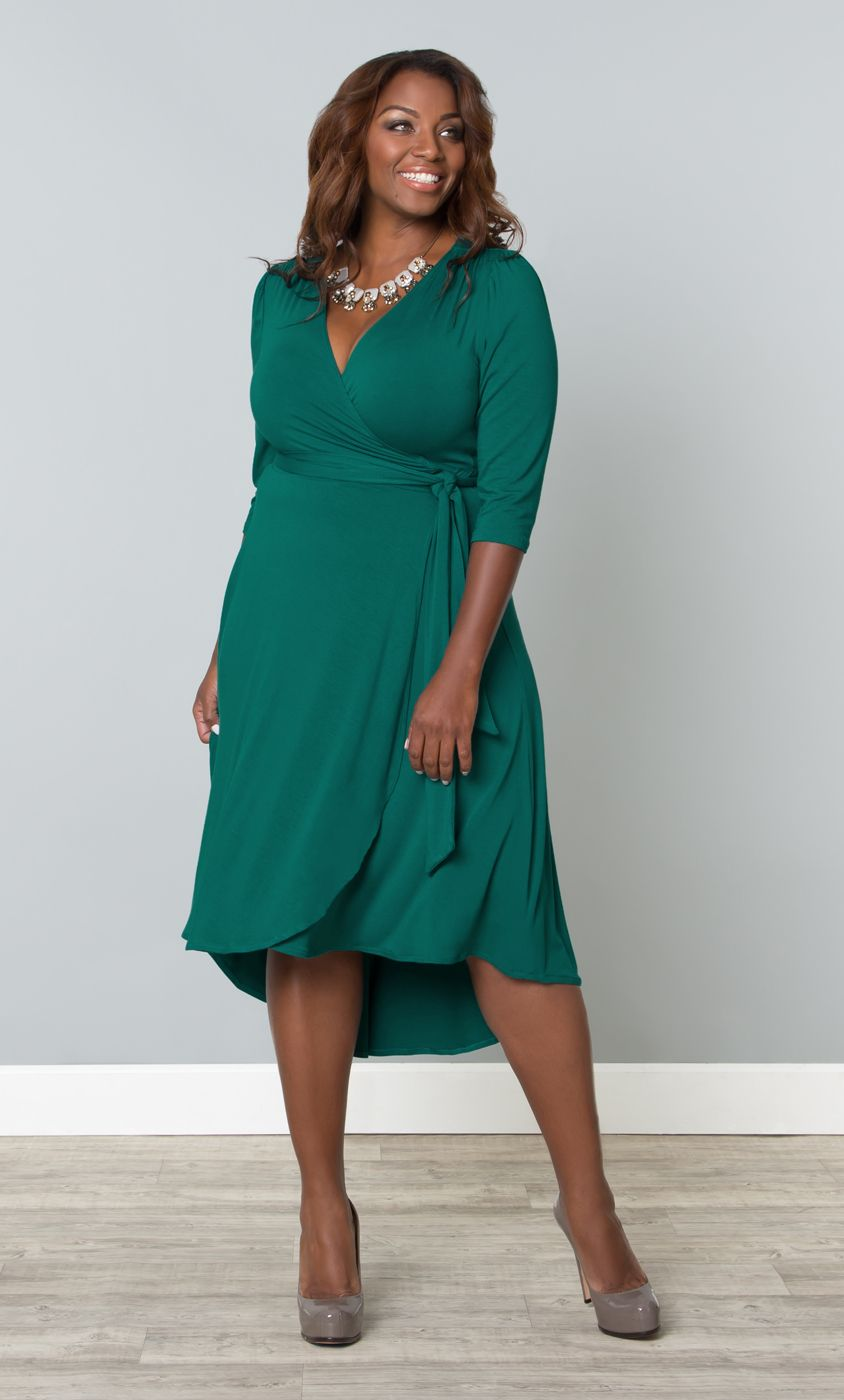 698295474485b This flirty and flattering wrap dress is on-trend with a hi-lo hem and a  classic silhouette. www.kiyonna.com #KiyonnaPlusYou #Plussize #MadeintheUSA  # ...