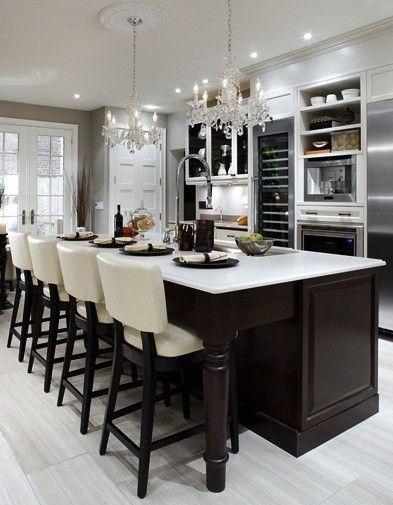 Large Kitchen Island Table Chandeliers Tall Wine Fridge White Washed Hardwood Floors