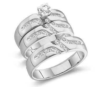 10k White Gold Mens and Ladies Couple His & Hers Trio 3 Three Ring Bridal Matching Engagement Wedding Ring Band... - List price: $1,912.00 Price: $699.00 Saving: $1,213.00 (63%)