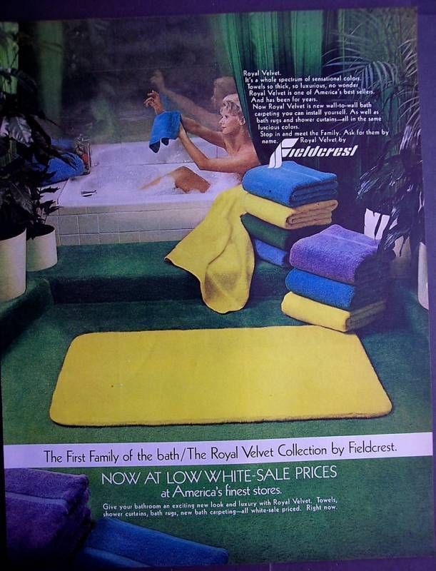 Vintage Bathroom Ad 1972 Lady Taking Bath Fieldcrest Bath Towels