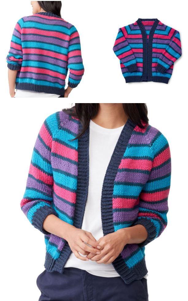 Free Knitting Pattern for a Cropped Raglan Knit Cardigan ...