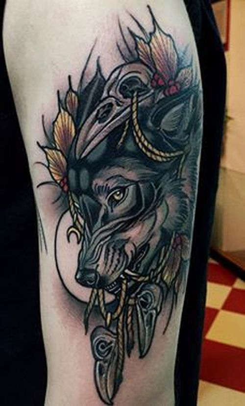 40 Traditional Wolf Tattoo Ideas January 2021 Wolf Tattoos Men Best Leg Tattoos Leg Tattoo Men