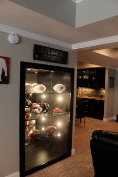 memorabilia sports display basement bar decor houzz cave room decorating case displaying sport designs remodeling cabinets furniture inspiration cases football