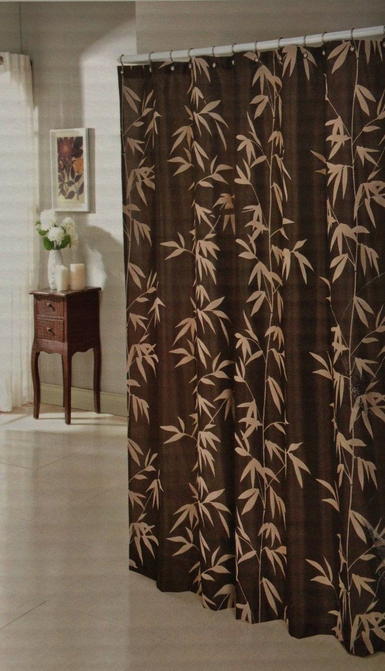 Chocolate Brown Faux Silk Fabric Shower Curtain With Taupe Flocked ...