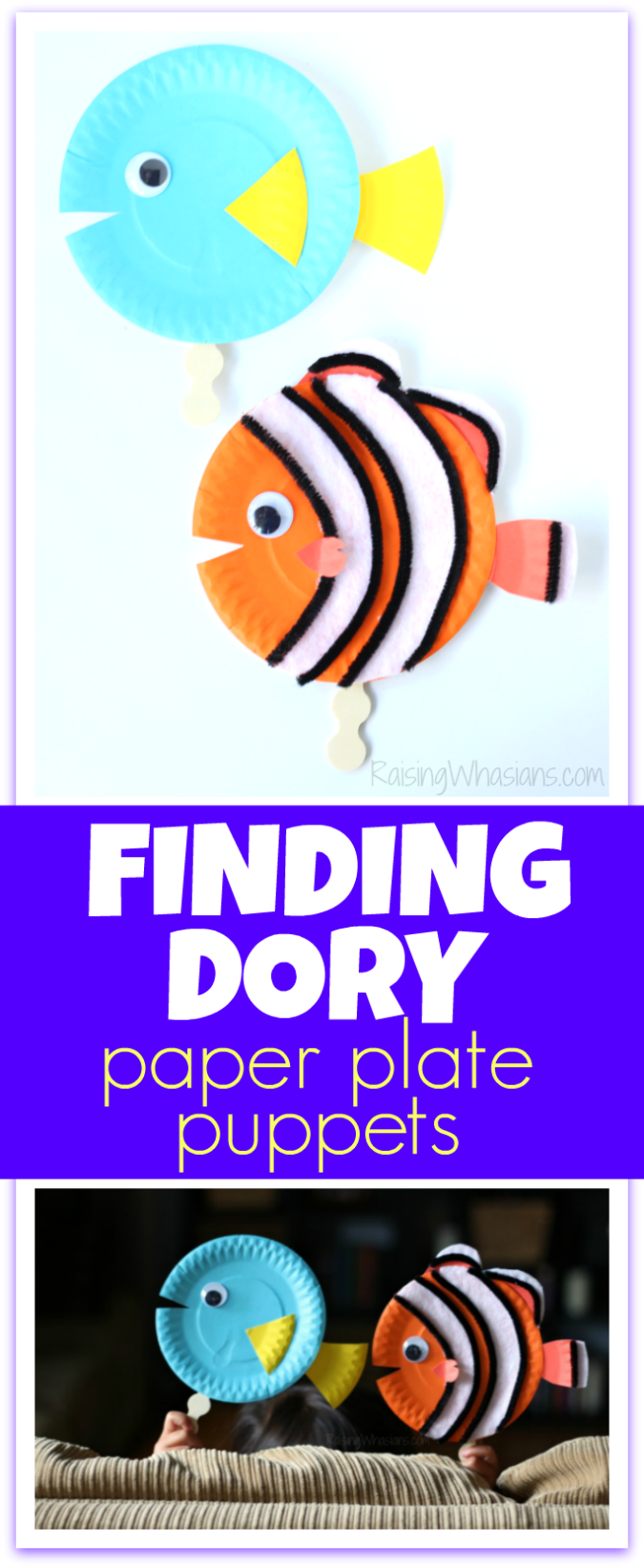 Finding dory craft paper plate puppets findingdoryevent for Finding dory crafts for preschoolers