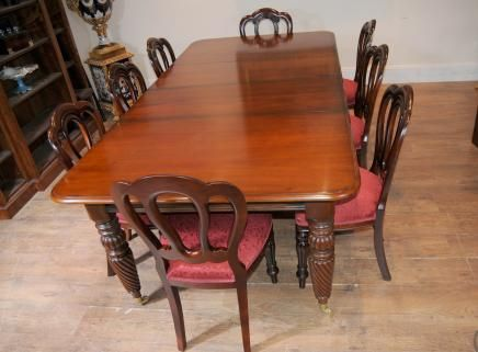 Canonbury   Victorian Balloon Back Chair Table Dining Suite Set Mahogany