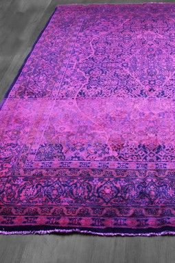 Over Dyed Persian Mahal Hot Wool Rug Pink Purple Blue 7ft