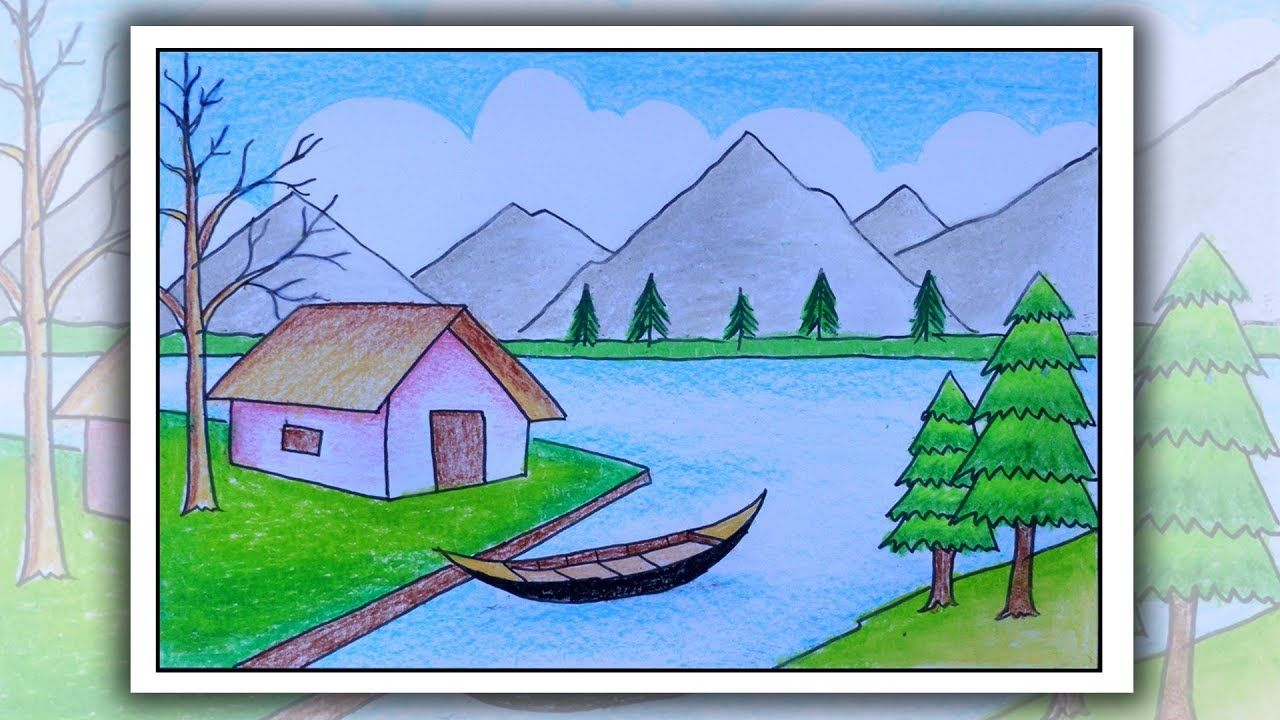 How to draw scenery of mountain step by step | Village ...