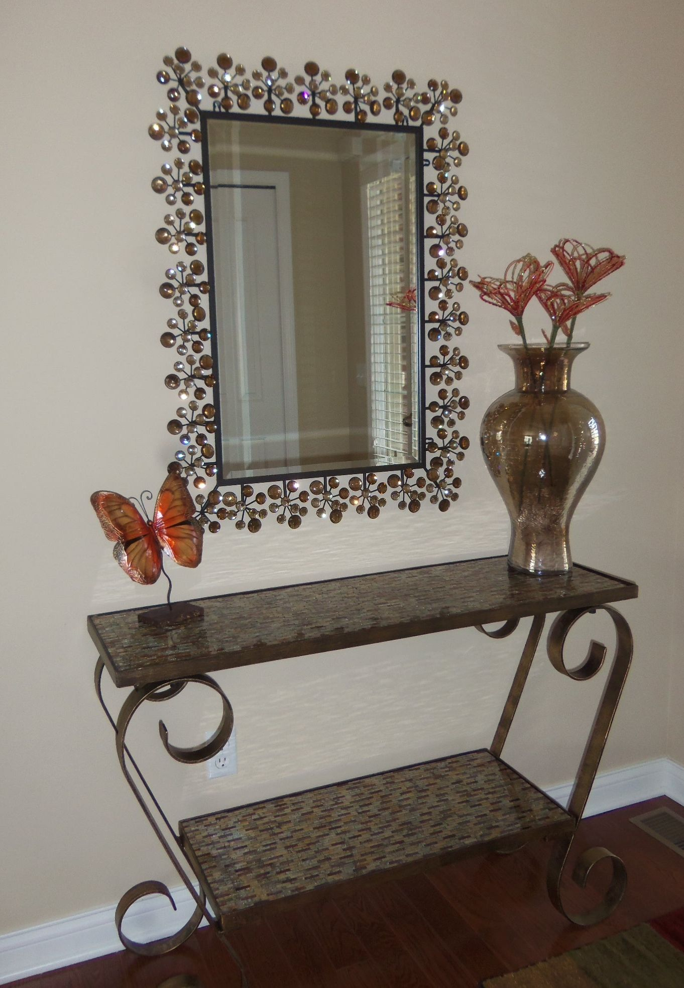 Foyer Table Vases : Pier entryway amber dazzle mirror mosaic console