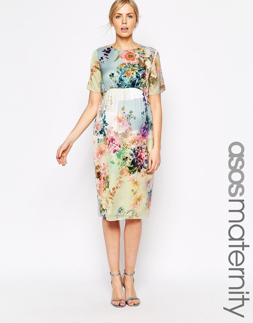 00585e63a40 ASOS Maternity SALON Midi T-Shirt Dress In Floral Print