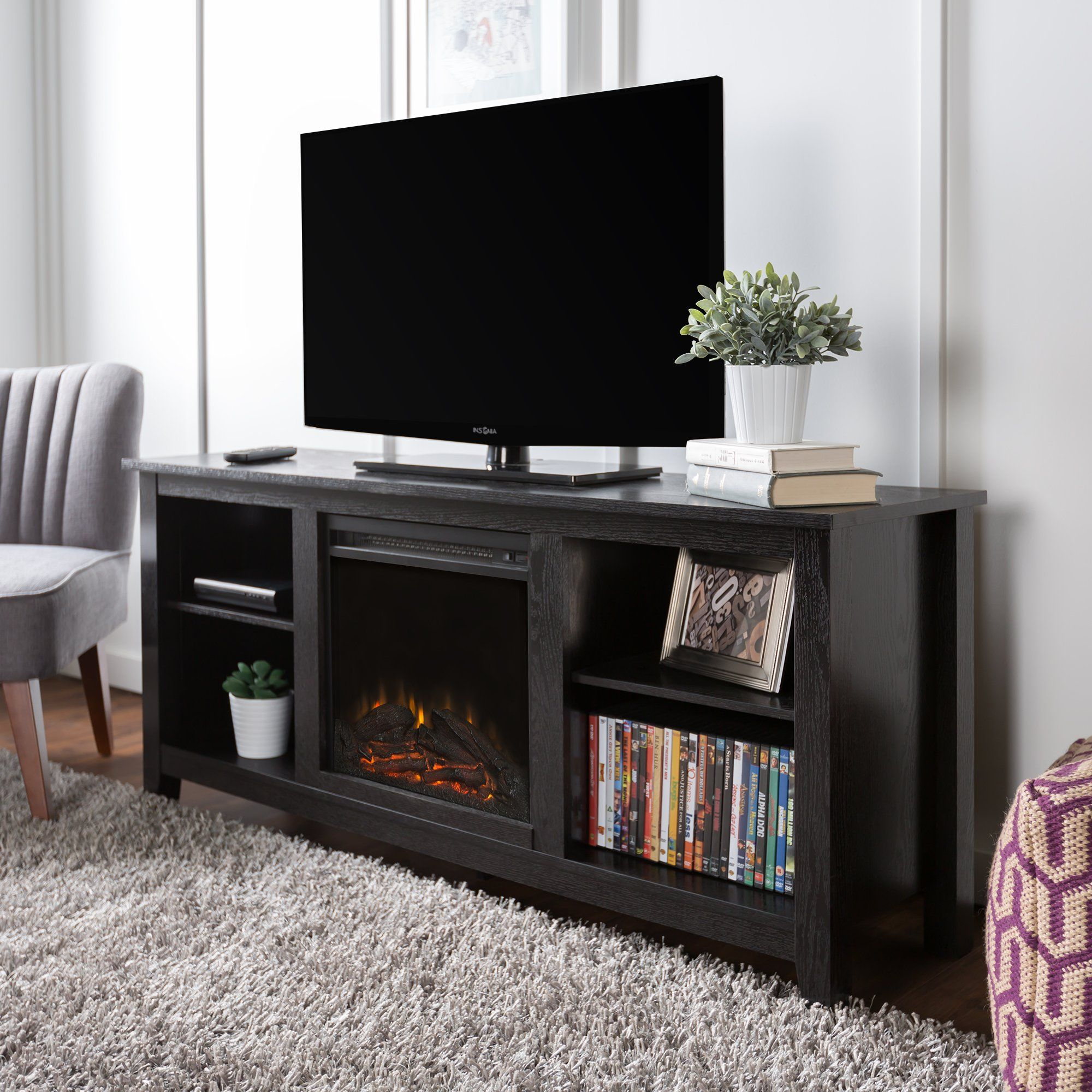 new 58 inch tv stand with fireplace in black finish furniture