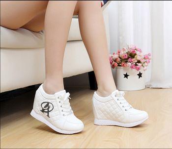 623812c2 2015 moda cuña zapatillas de deporte mujeres altura aumento de ...
