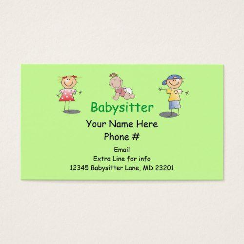 Babysitter nanny cartoon stick kids boy girl baby business card babysitter nanny cartoon stick kids boy girl baby business card colourmoves