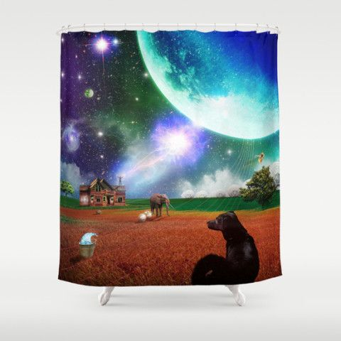 Society6 Shower Curtain Bath Home Decor Style Surreal Evening Unusual Fantasy Dog Bees Elephant Sci Fi Cosmic Space Aliens Gift Petergross