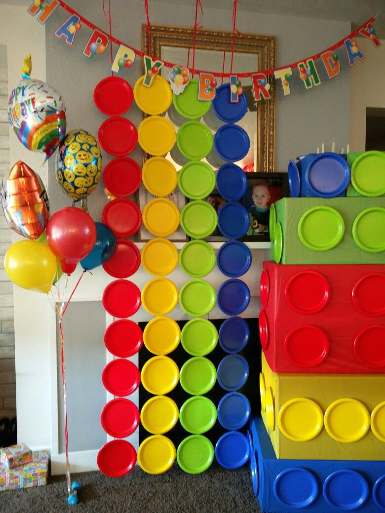 Lego Wall Made Of Stapled Together Colored Paper Plates Lego Themed Party Lego Birthday Lego Birthday Party
