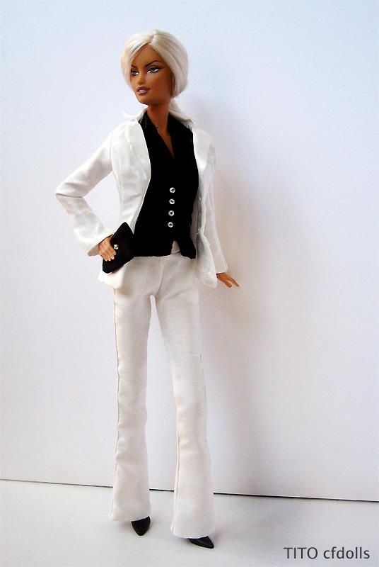BARBIE KEN DOLL WHITE BUSINESS SHIRT TIE FASHION ROYALTY SILKSTONE FASHIONISTA