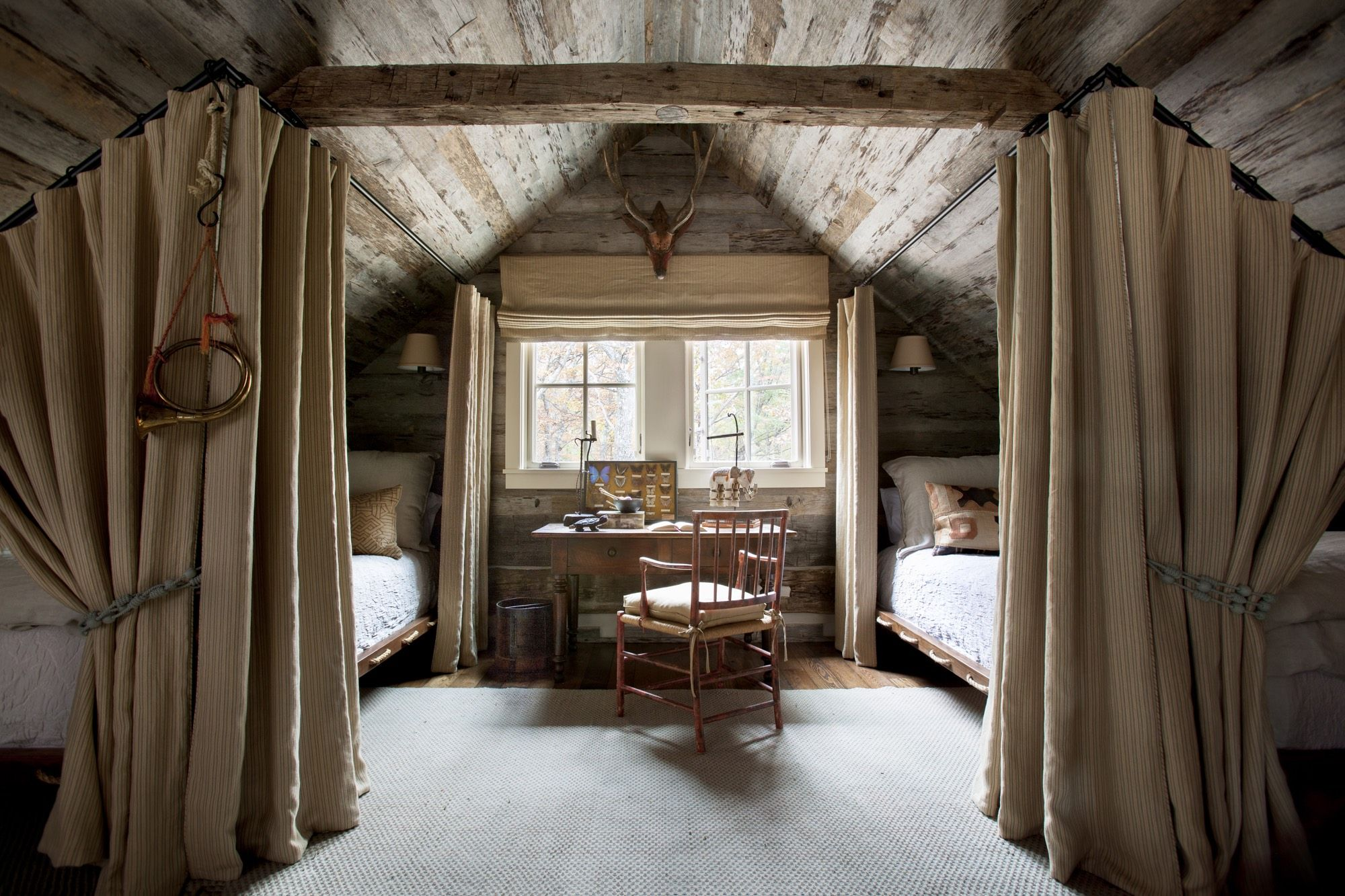 Log cabin loft bedroom  Sewanee Cabin James F Carter  The Mountains and lakes Are