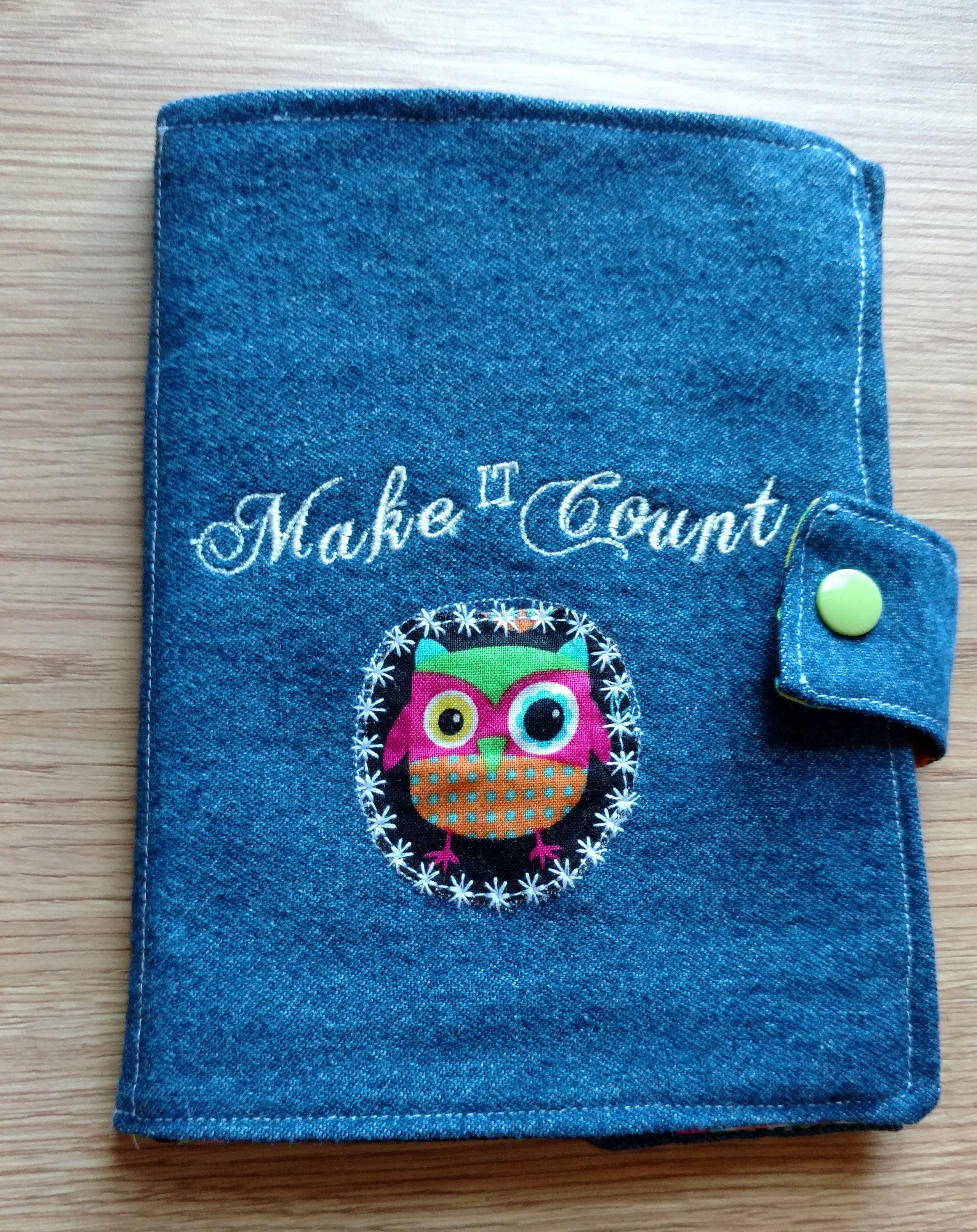 Owl Cover Denim Journal, Mini Composition, Notebook Cover, Jacket, Bible Cover, Reusable by DenimDelightsByLinda on Etsy