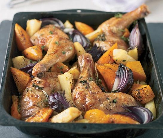roast chicken pieces in a pan with root vegetables in a balsamic glaze Get access to a 1000 recipes at http://fingerlickingrestaurantrecipes.weebly.com   #chicken #chicken recipes