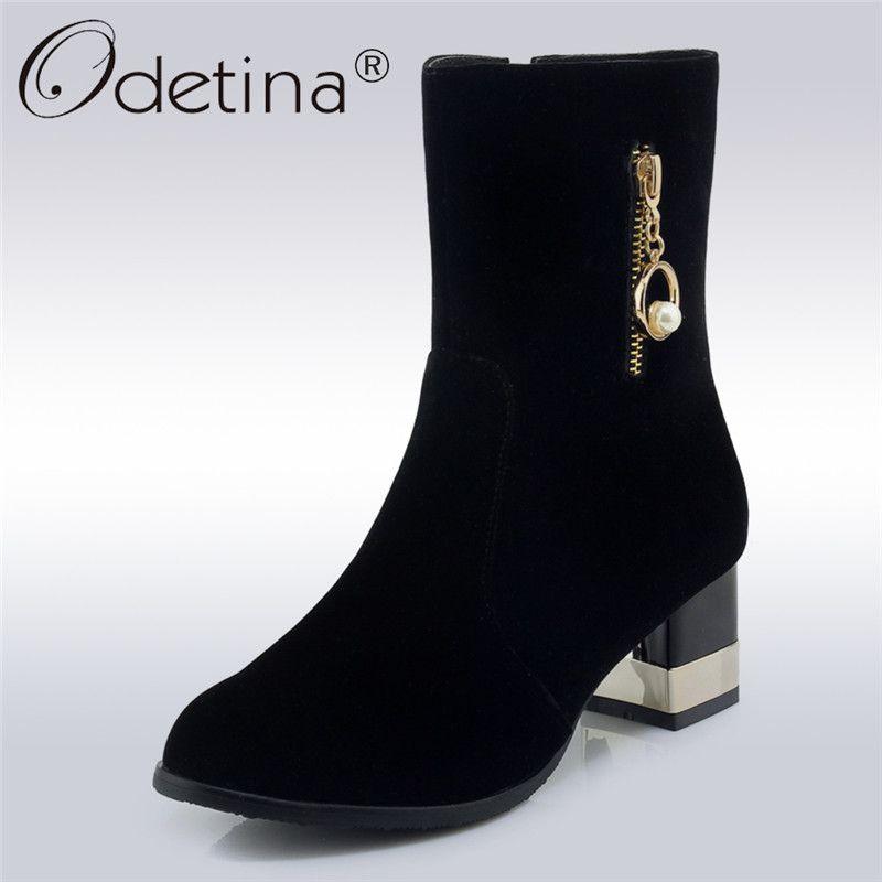 Find More Ankle Boots Information About Odetina New Fashion Lady Concise Ankle Boots Women Square High Heels Side Zip Pearl Winte Kadin Ayakkabilari Ayakkabilar Ve Kadin
