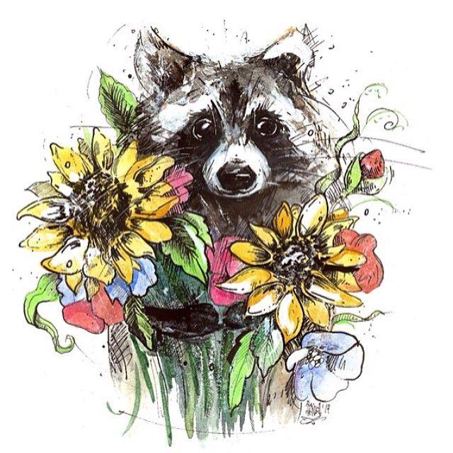 доброе утро енота с цветами вам для хорошего настроения