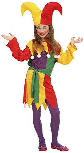 Ladies Jolly Jester Costume Outfit for Adult Circus Clown Fancy Dress Up