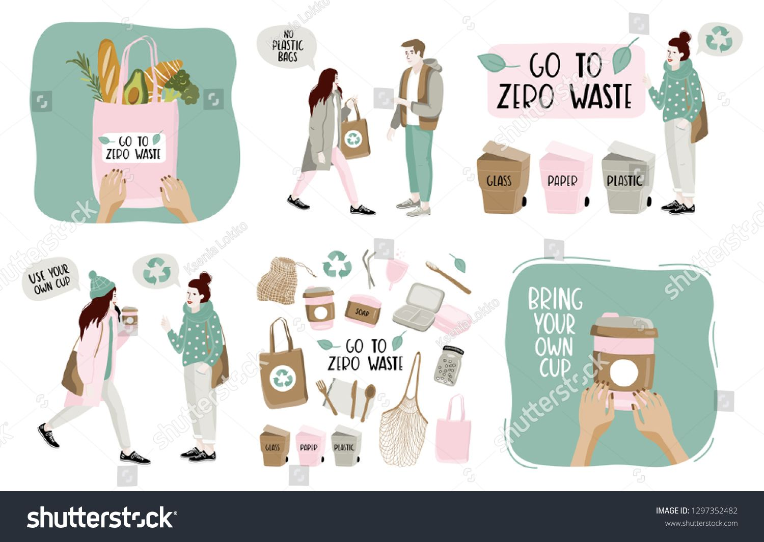 Hand Drawn Elements Of Zero Waste Life In Vector Eco