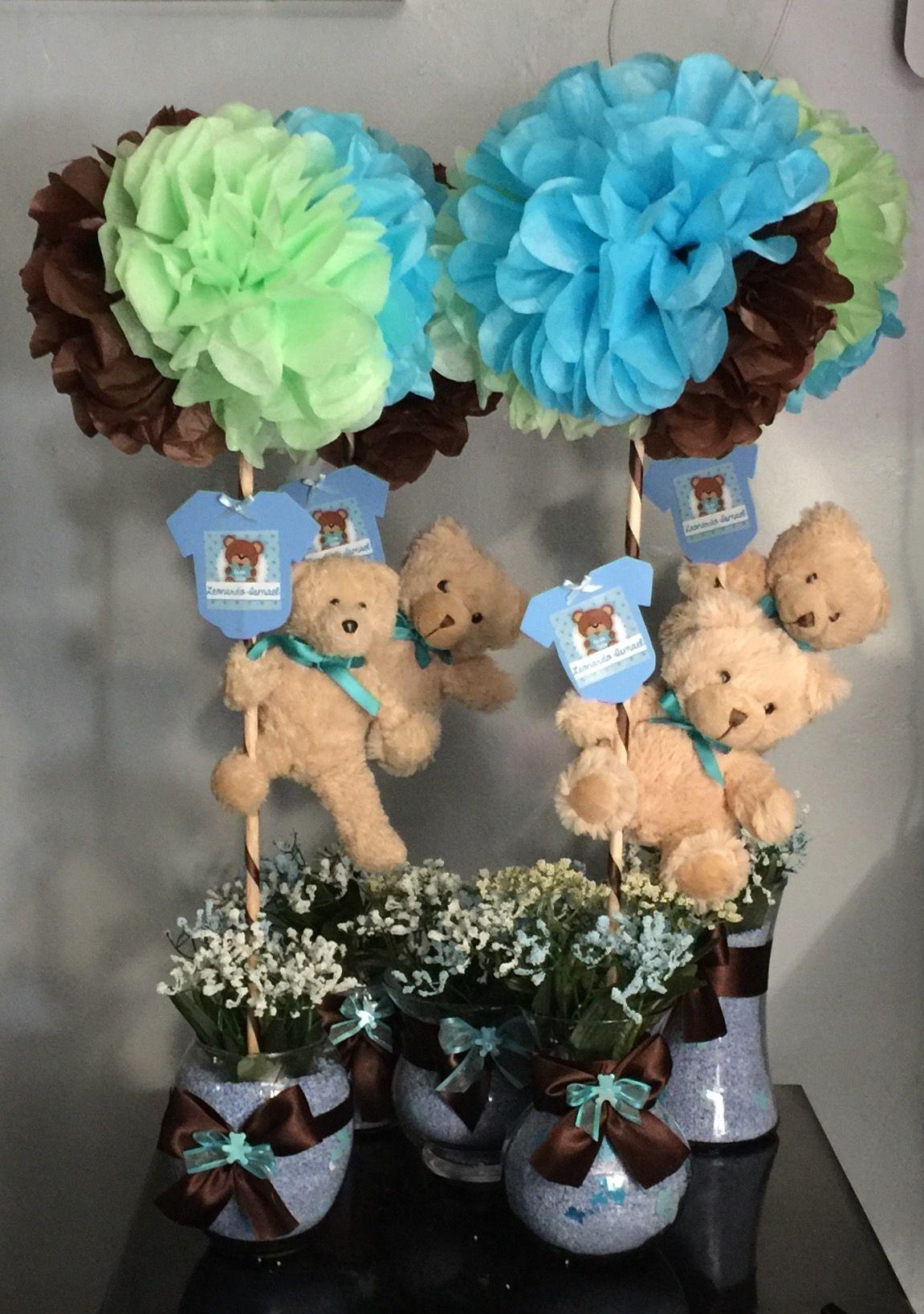 Centros de mesa decoraciones osos  Baby boy en 2019