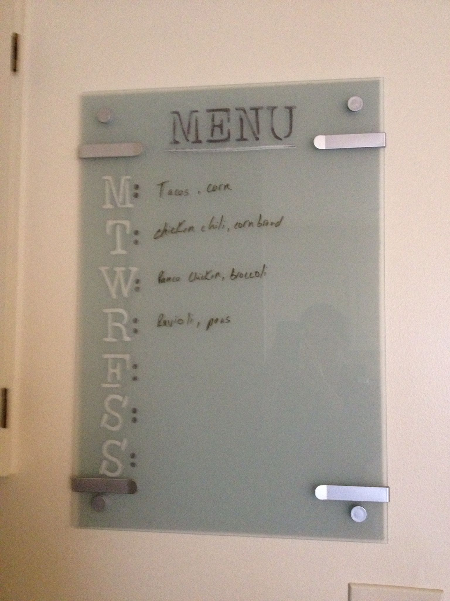 Kitchen Whiteboard Trash Bin Glass Ikea Kludd Painted Behind The