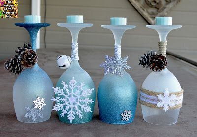 Winter Wonderland Wine Glasses Candle Holders Christmas Wine Glasses Christmas Decor Diy Winter Wonderland Decorations