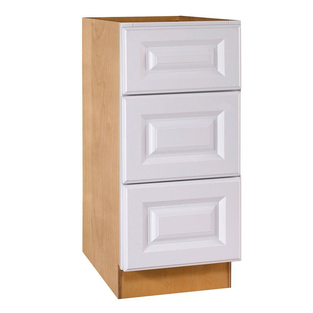 Hallmark Assembled Desk Height Base Cabinet With  Drawers In Arctic