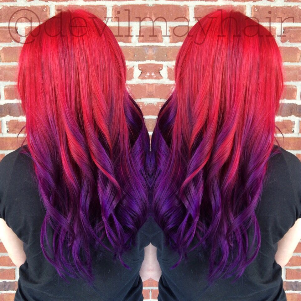 Red To Purple Sunset Hair Ombre Done Using Pravana Vivids Sunset Hair Purple Ombre Hair Ombre Hair Color