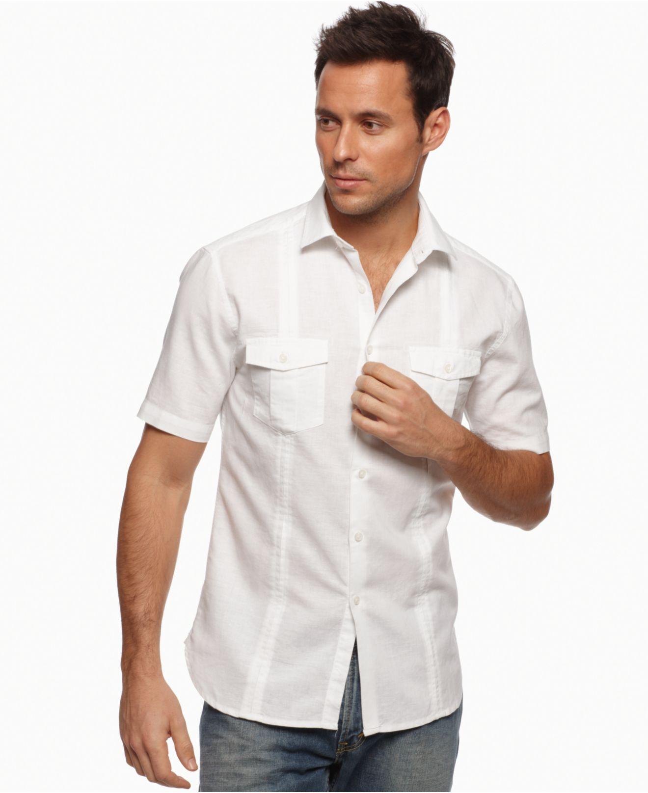 Alfani shirt slim fit shortsleeve casual linen mens