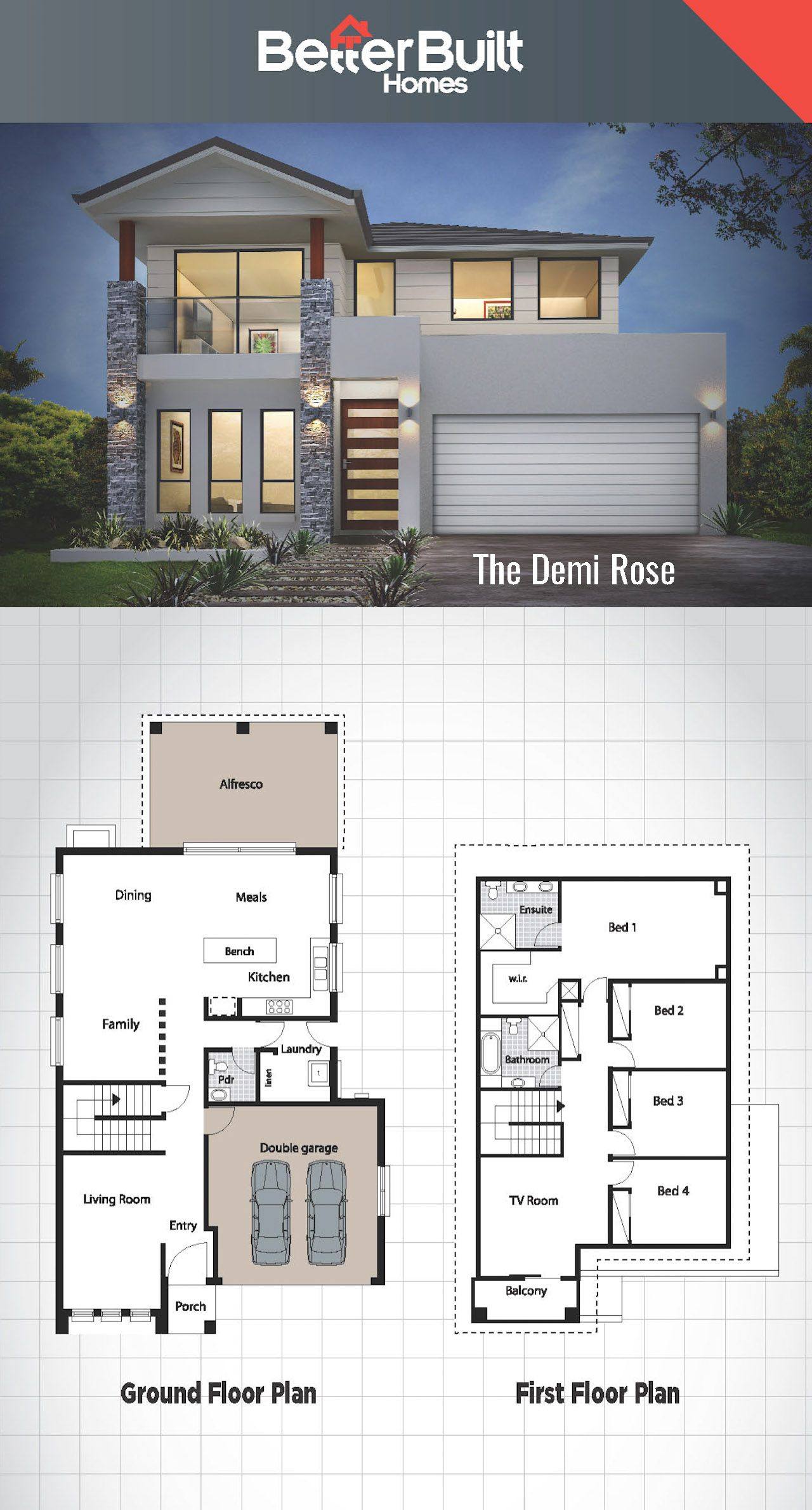 The Demi Rose: Double Storey House Design #BetterBuilt #floorplans ...