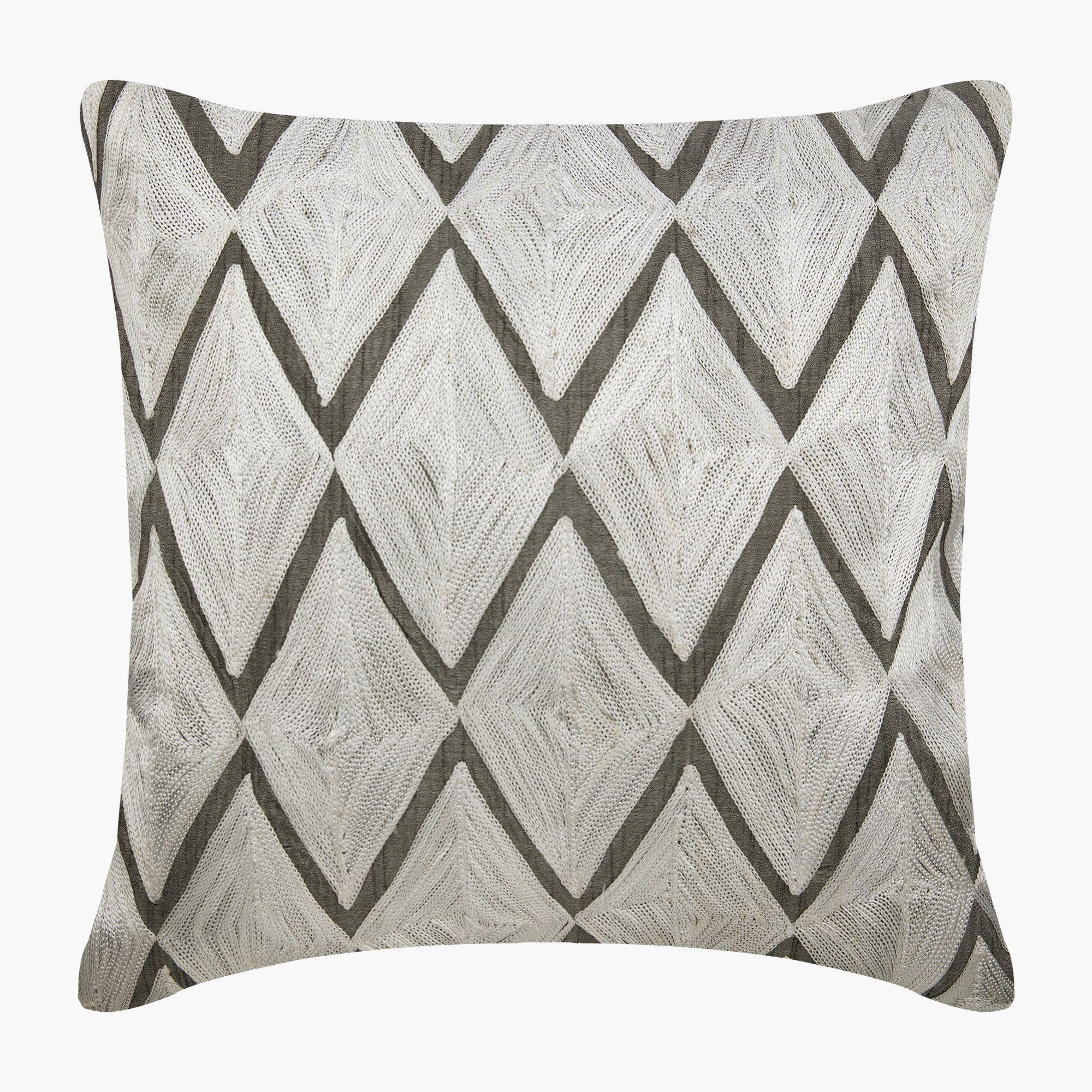 Decorative Charcoal Gray Euro Size Pillow Cover 26 X26 Art Silk Throw Pillow Cover Sofa Throw Large Geometric Modern Style Diamond King Silk Throw Pillows Silk Pillow Cover Throw Pillows