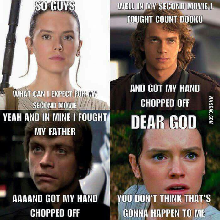 Is Rey Doomed By The Skywalker Family Curse Of Losing Limbs In A Lightsaber Fight Star Wars Humor Star Wars Jokes Star Wars Memes