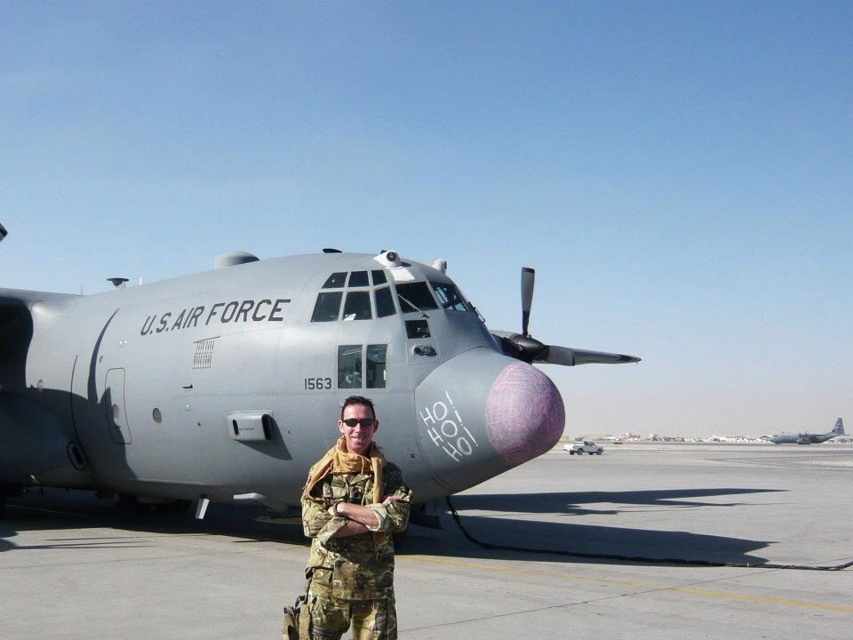 My husband in #afghanistan celebrating on #christmasday by doodling on the plane nose! RAF USAF #Ho!Ho!Ho!