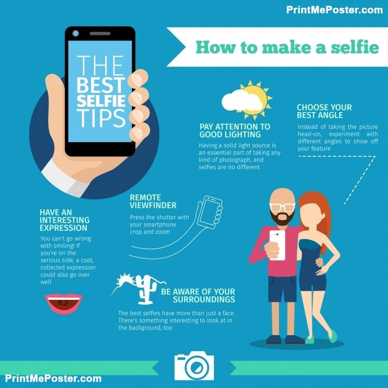The best selfie tips. How to make. Infographic and instruction ...