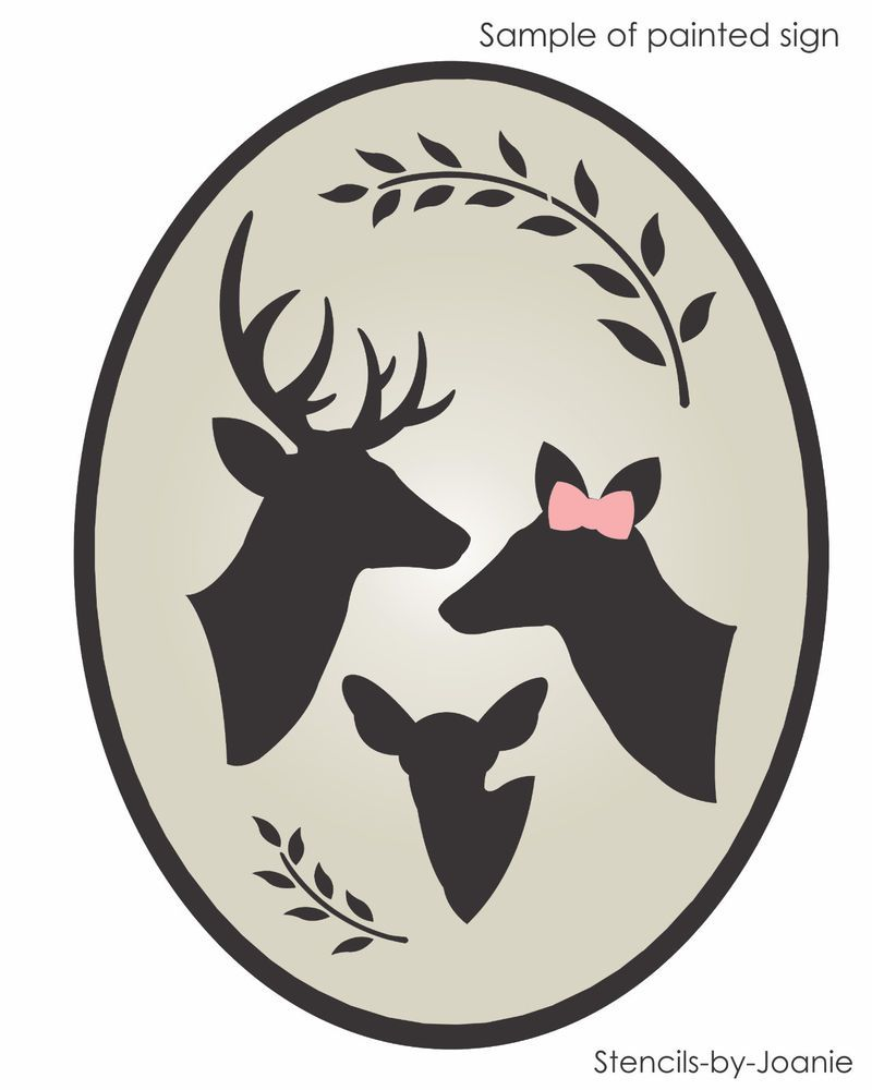 DEER STENCIL Family Trio Buck Doe Fawn Willow Country Cabin Lodge Look Art Signs #DesignsbyJoanie