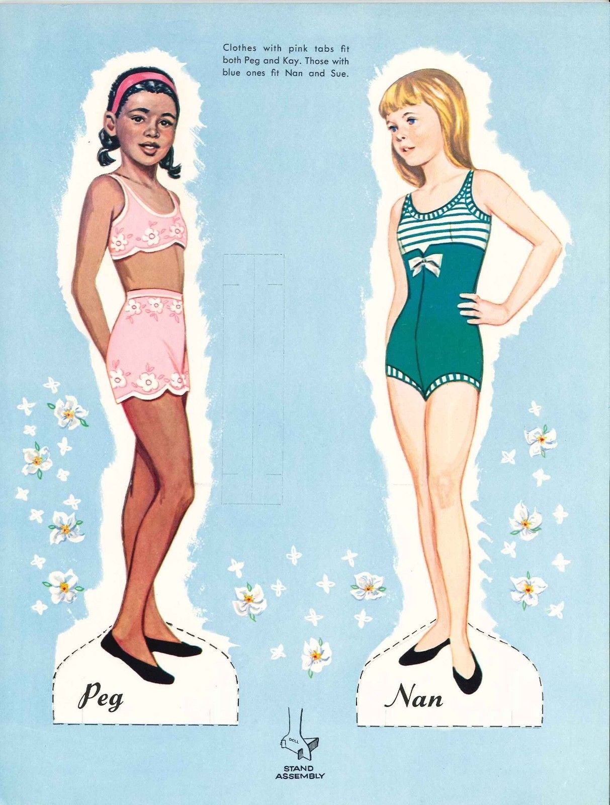 VINTGE 1966 NAN PEG SUE PAPER DOLL LASER REPRODUCTION~LO PR~TOP SELLER FREE S/&H