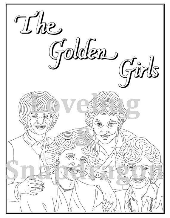 Tremendous Golden Girls Digital Coloring Book Instant Printable File Interior Design Ideas Tzicisoteloinfo