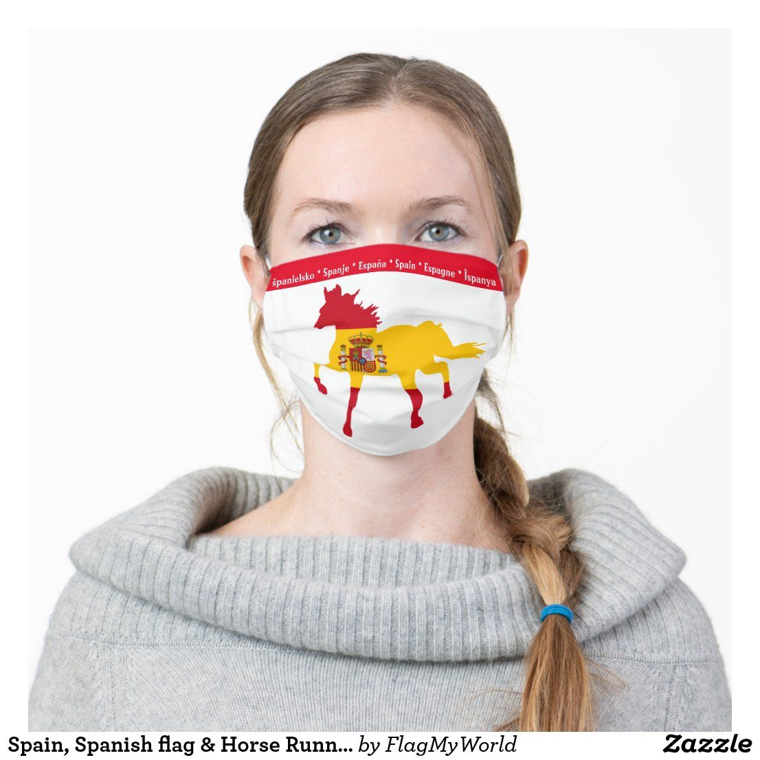 Spain Spanish Flag Horse Running Face Mask Zazzle Com In 2020 Running Face Mask Patriotic Fashion Mask